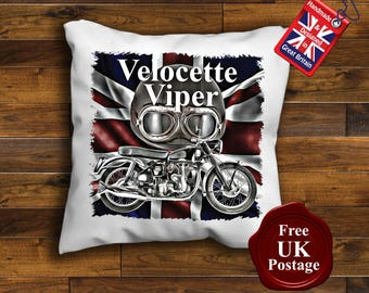 Velocette Motorcycle Cushion Cover, Velocette Motorcycle union jack Unofficial,