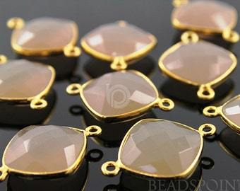 Sand Chalcedony Bezel Cushion Shape Gemstone Component, Gold Vermeil  16mm, 1 Piece, (BZC7501)