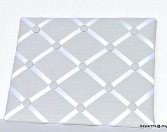 Light Gray French Memo Board Memory Board, Light Gray Fabric Ribbon Memo Bulletin Board, Light Gray Fabric Ribbon Pin Board