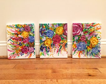 "Small floral paintings ~ triptic flowers ~ 7"" x 10"" each - ""Little Floras"""