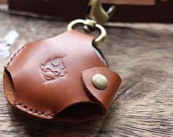 Leather Lens Cap Case, Lens cap holder, Leather cap pocket.