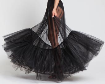 Tulle Skirt, Black Maxi Skirt, Sheer Skirt, BDSM Clothing, See Through Skirt, High Waisted Skirt, Long Black Skirt, Women Black Skirt