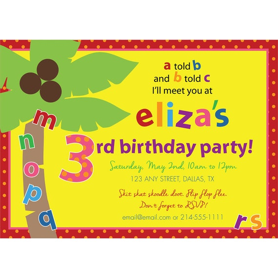 Items Similar To Chicka Chicka Boom Boom Birthday Party Invitation