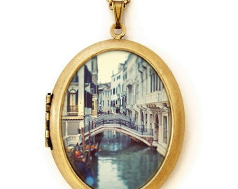 Blue Venice - Venice Italy Canals Photo Locket Necklace