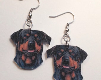 Handcrafted Plastic Rotweiller Dangle Earrings, Necklace or Keyring Gifts for Her rot18a