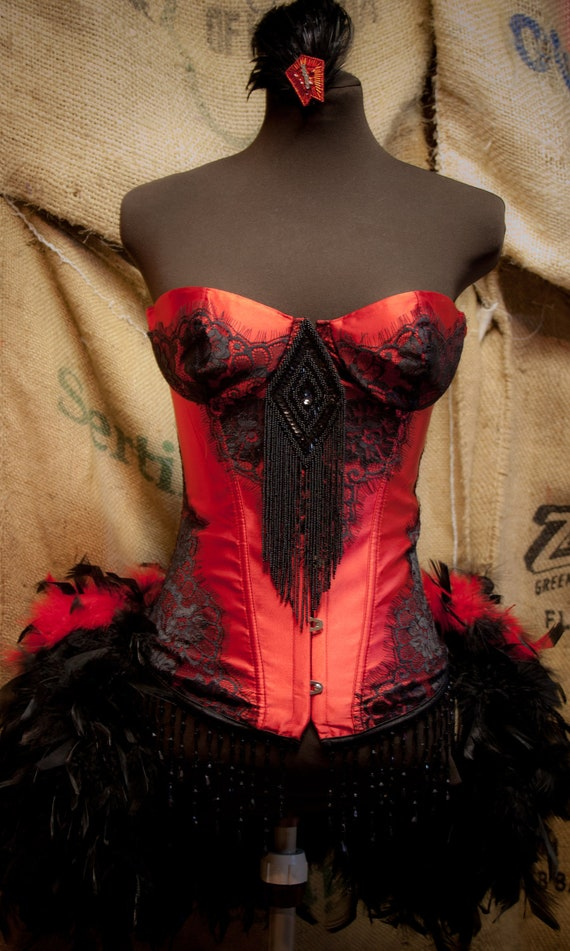 PHOENIX Saloon Girl dress Red Black Victorian Burlesque Cabaret Pin Up Feather Cosplay Costume