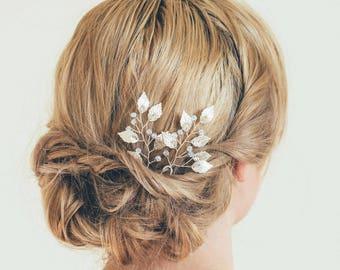 Bridal hair pin, Leaf hair pin, Bridal hair pin set, Silver leaf hair pin, Silver hair vine, Bridesmaid hair pins