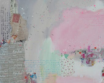 Love, pink, light gray, pastel, acrylic, abstract painting, collage, mixed media, contemporary art, bible verse