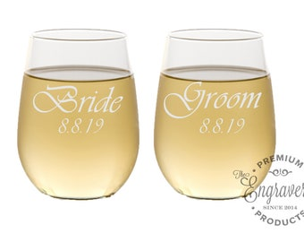 Bride and Groom Stemless Wine Glasses, Personalized Wine Glasses, Custom Wine Tumblers, Engraved Wedding Gifts for the Couple - Set of 2