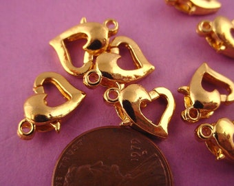 30 Gold Plated Heart Spring Ring Catches Lobster Claw Style 10mm