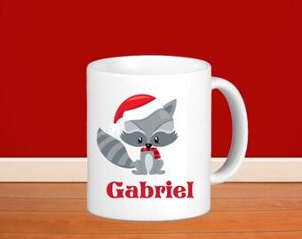 Christmas Animal Kids Personalized Mug - Woodland Christmas Animal with Name, Child Personalized Ceramic or Poly Mug Gift