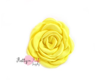 Yellow Satin Blooming Roses- You Choose Quantity- Satin Rosettes- Satin Roses- Rosettes- Flower- Supply- DIY Headbands- DIY Supplies-