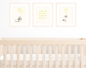 Set of 3 Yellow and Green Themed Nursery Prints - Watercolour Illustrations of Baby Rabbit, Owl and Hot Air Balloons in Lemon and Lime
