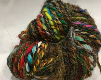BOLD EARTH Aran Weight hand spun art yarn 33 metre 36 yards 2ply for weaving or knitting or crochet 35g
