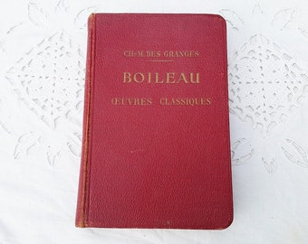 Boileau bibliography, french vintage  leatherbound book, red leatherbound book ,Antique french  book ,  Boileau  selected works