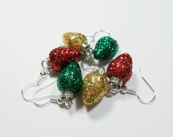 Christmas Light Earrings -Glitter Bulbs, Christmas baubles, Ornaments, jewelry, Polymer clay