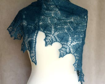 Dark teal wrap, evening shawl, triangle shawl, mohair and silk, lace shawl, bridesmaid gift, bridal shawl, wedding, Made to order