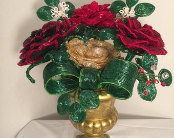 French Beaded Flower arrangement hand made with a vase