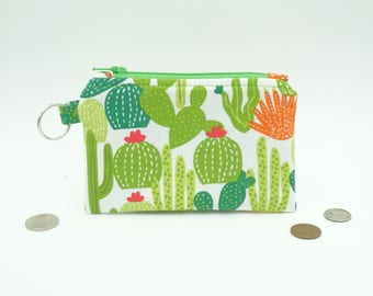 Cactus Change Purse, Small Cactus Wallet, Cacti Zipper Pouch, Cacti Coin Purse, Small Zip Wallet