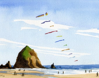 Haystack Rock Cannon Beach art print, Oregon watercolor painting, Oregon coast artwork, coastal ocean decor, Oregon beach kites wall art