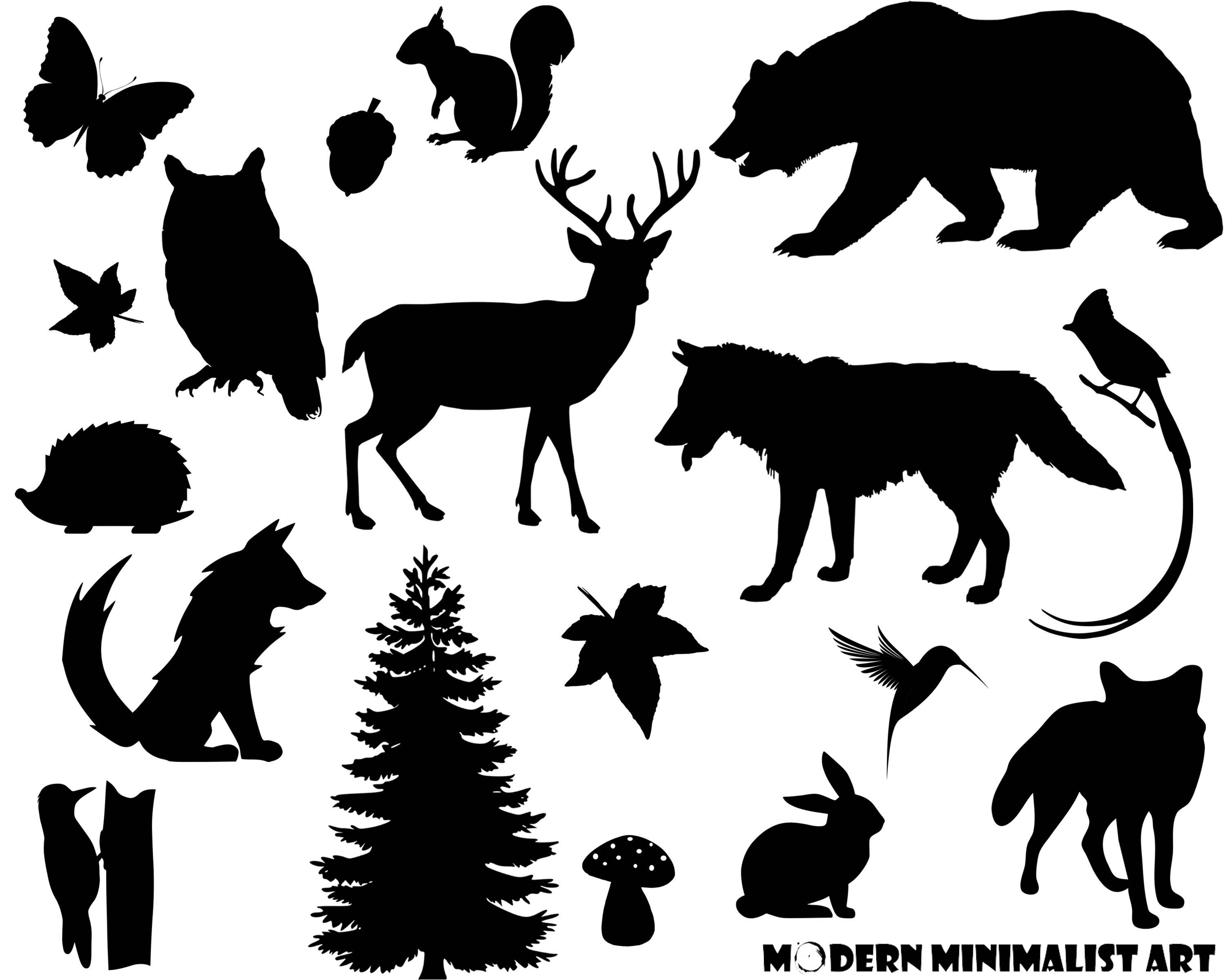 Woodland Animals Clipart Black 17 PNG Images