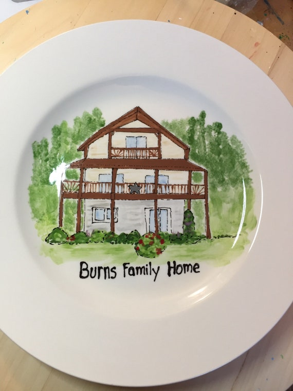 Hand painted, personalized, illustrated Home plate, custom house plate, new home gift, realtor closing gift, round rim plate