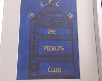 football abstract, Everton abstract painting, framed football mixed media, The Peoples Club asbstact, mixed media, framed everton art