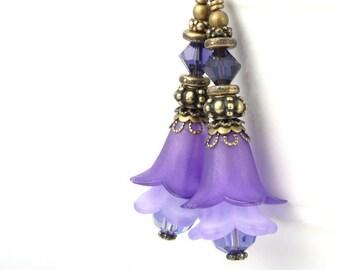 Purple Flower Earrings Boho Chic Jewelry Bohemian Lucite Flower Bead Earrings Dark Brass Vintage Style Lilac Lavender Purple Jewelry