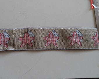 stripe fancy beige color with a teddy bear and a red star spangled nine width 25 mm new