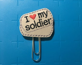 I Love My Soldier Planner Clip