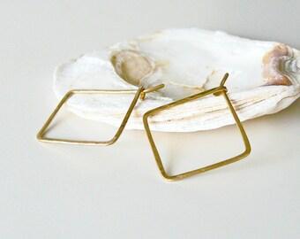 Square hoops hammered, brass hoops, earrings minimalist, Boho, nickel free earrings, gift, hanging earrings, square hoops