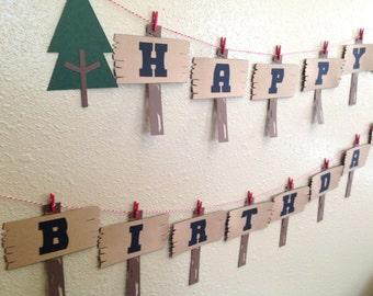 Lumberjack Banner - Lumberjack Birthday - First Birthday - Boy Birthday - Woods - Lumberjack Party - Lumberjack Theme - Camping Party