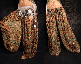 Tribal Harem Pants, cut out leg. Belly Dance Costume, Festival Fashion, Gypsy style, brown gold green velvet pants, Boho baggy pants, hippy