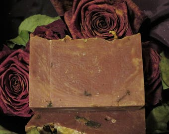 Bespelled Rose Soap, Bar Soap, Cold Process Soap, Handcrafted, Paraben Free, Phthalate Free, Body Care, Skin Care, Rose, Amber, Gift