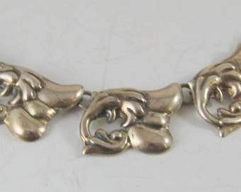 "Vintage Sterling Silver Early Taxco Necklace AE Heart Rancho Alegre Popowski 48 Grams 16"""