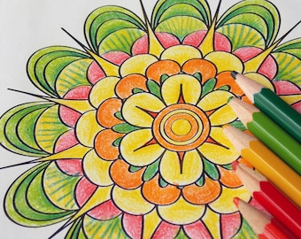 Flower Mandala Coloring page Printable adult