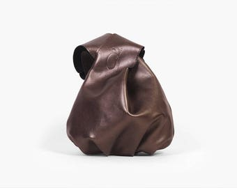 "Knot Bag ""Bonny Brown"", Leather Japanese Knot Bag,  Brown Wristlet Clutch, Wristlet Wallet, Wristlet Bag, Pouch Bag, Brown Project Bag"