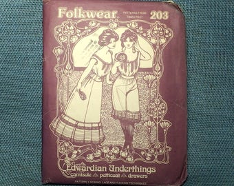 Edwardian Underthings Folkwear Patterns From The Past  #203 - Vintage Sewing Pattern Camisole - Petticoat - Drawers