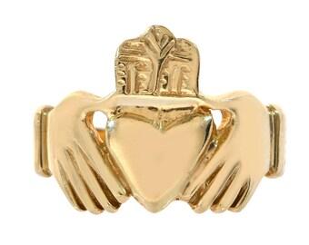 Irish Claddagh Men's Ring 14K Yellow Gold