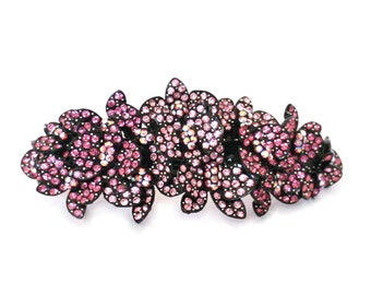 Large Crystal Butterfly Cluster Hair Barrette Clip Accessory Ponytail Holder Black Plated Pink