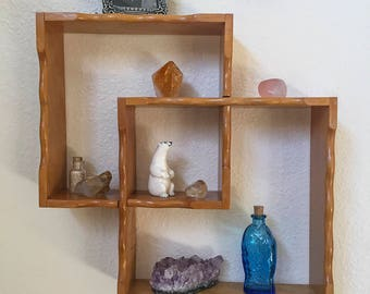 Vintage, Curio Shelf, Knick Knack Shelves, Wooden Scallop Edge, Mid Century, Wood Home Decor, Interlocking Squares, 1960s  Wall Hanging