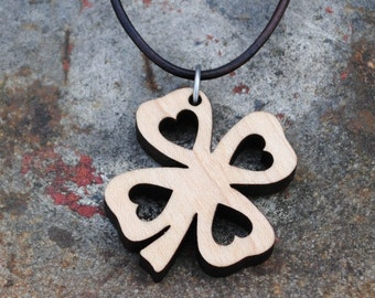 Wooden Four Leaf Clover Necklace Irish Pendant St Patricks Day Shamrock