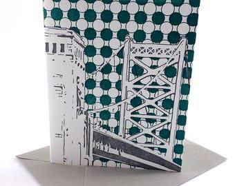 Philadelphia Letterpress Card  Benjamin Franklin Bridge   gray & teal single blank card with envelope