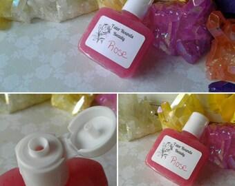 Vegan Hand Sanitizer - Soft Hands Kill Germs - Aloe Vera Gel - Rose Scent - Pink - Travel Size 1 Ounce