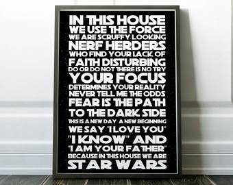 Star Wars In this House Gift for him Dad Star Wars Quotes Luke Skywalker Star Wars poster Gift I am your Father Dad Fan Birthday Present