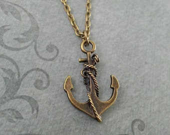 Ship Anchor Necklace, Anchor Jewelry, Anchor Pendant, Ship Necklace, Stocking Stuffer, Brass Anchor Charm Necklace, Ship Jewelry, Ship Gift