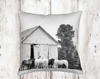 Horse Barn Decorative Pillow - Throw Pillows - Equine Decor - Horse Decor - Gifts - Rustic - Farmhouse Decor - Black White