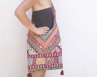 gold-embroidered ethnic bag // ethnic cross-body bag // embroidered bag // cross-body bag // ethnic shoulder bag