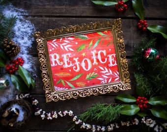 Rejoice Holiday Print | Watercolor Lettering | Christmas Wall Art | Katie Daisy | 8x10