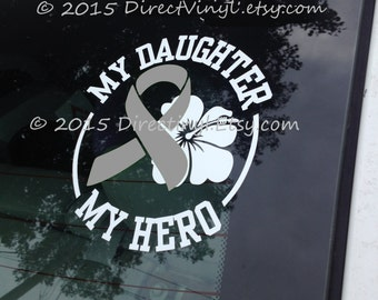 YOU CHOOSE TEXT Gray Awareness Ribbon Hero/Flower Decal (Brain Tumor, Brain Cancer, Allergies, Aphasia, Asthma, Diabetes, Parkinson's)
